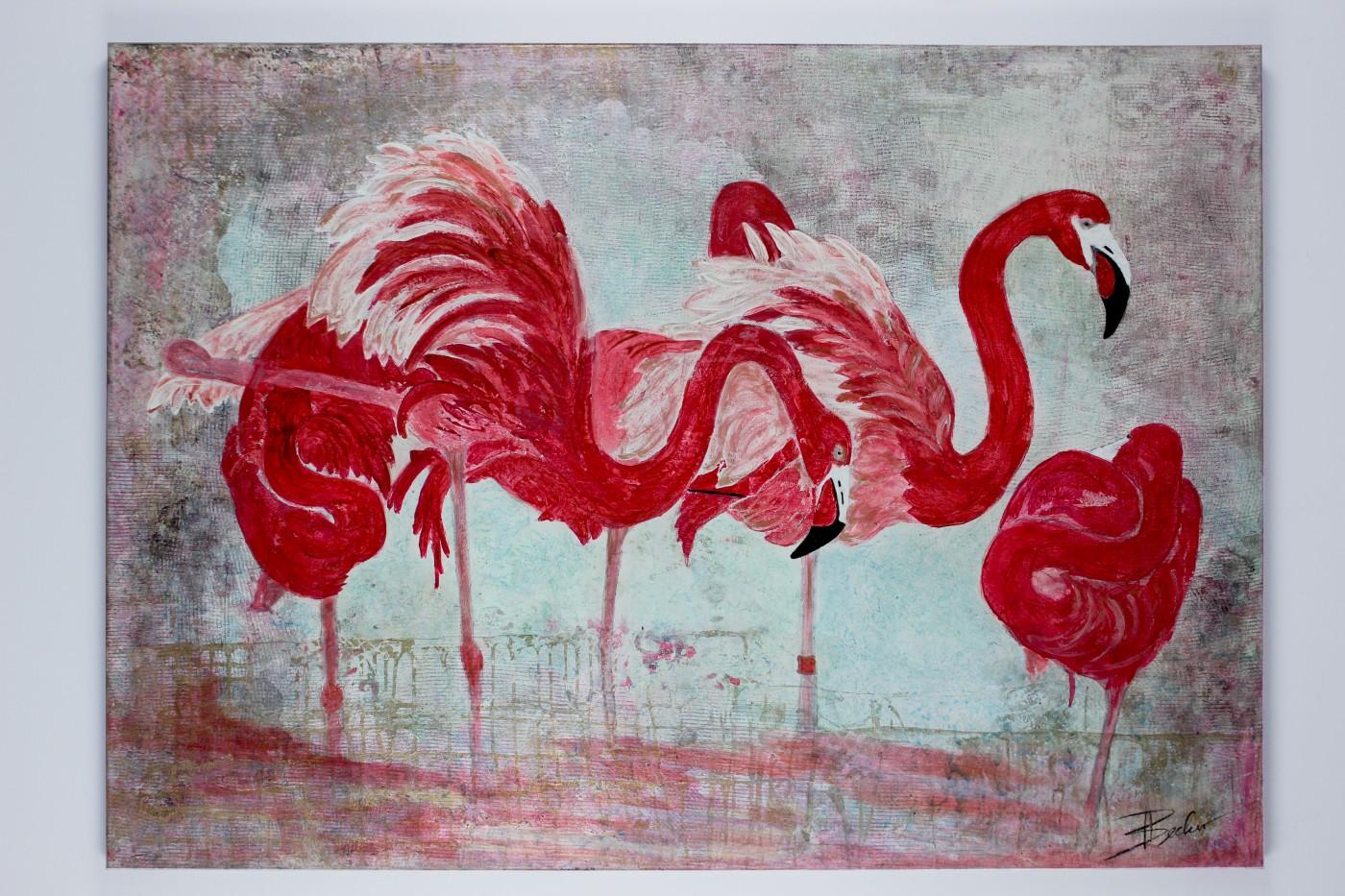 Tierwelt_FlamingosInRot_140x100